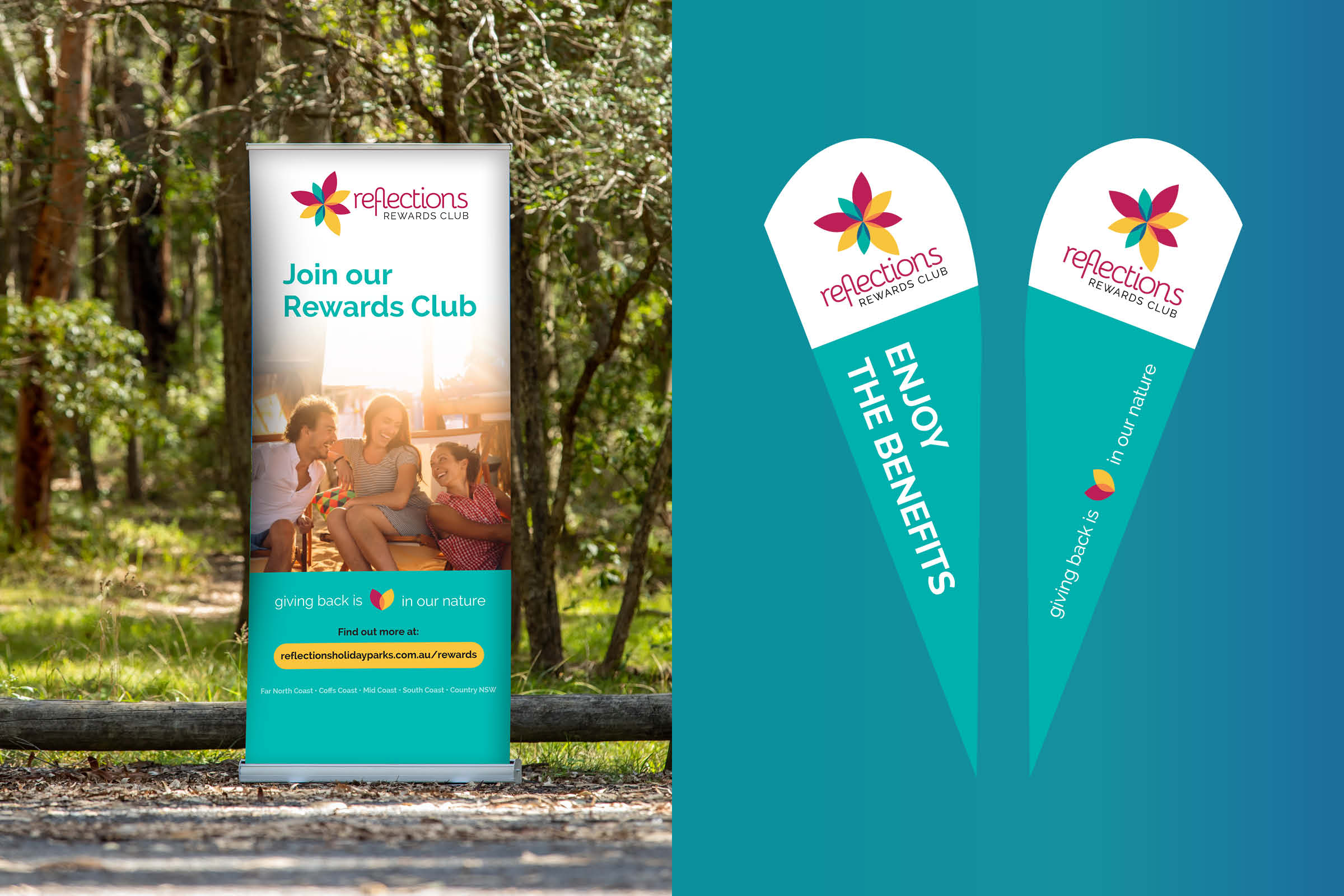 signage design including pull up banners and tear drop flags