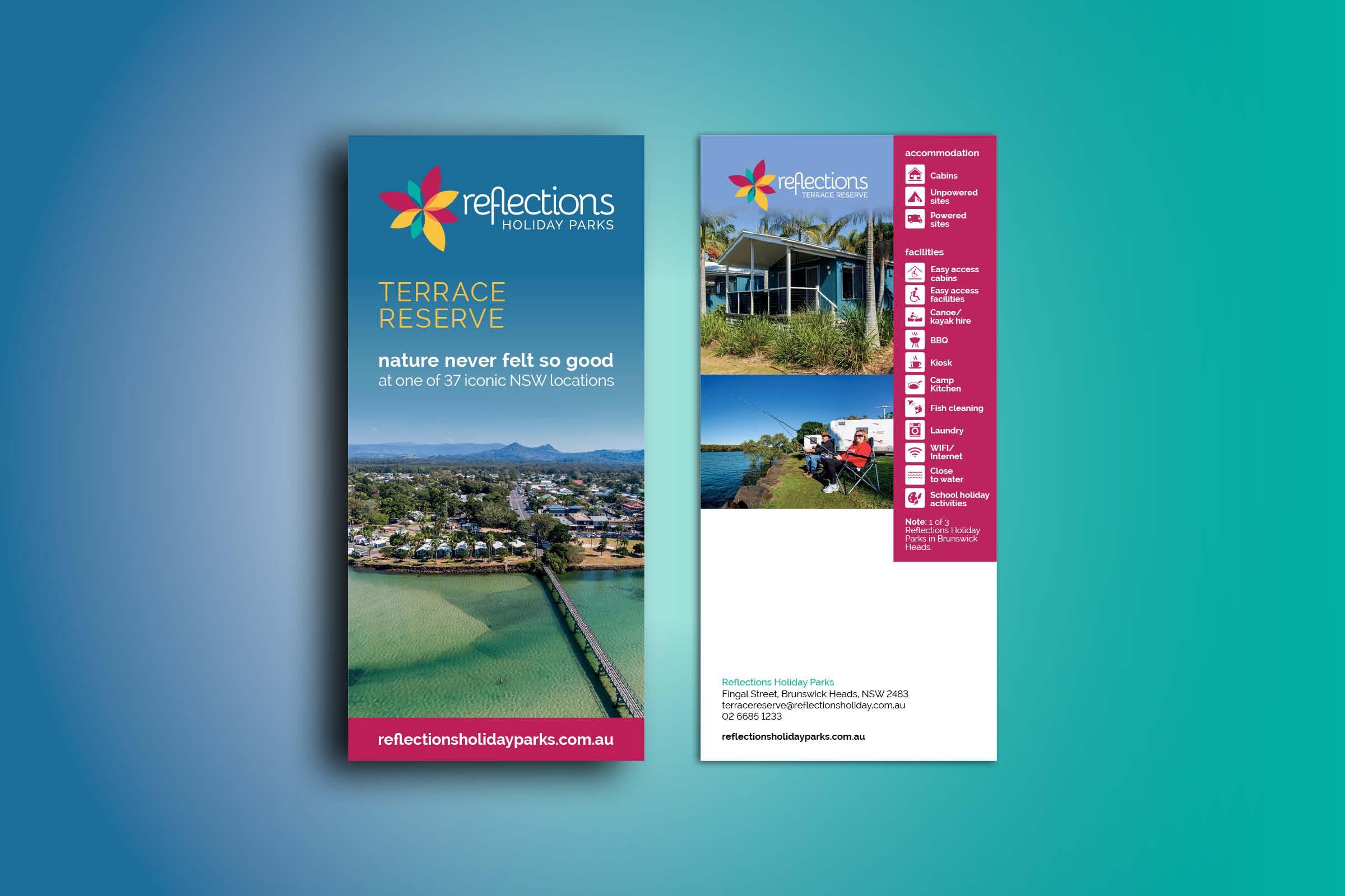 Advertising flyer design for Reflections Holiday Parks. Featuring a campsite one side, supporting images and features on the reverse.