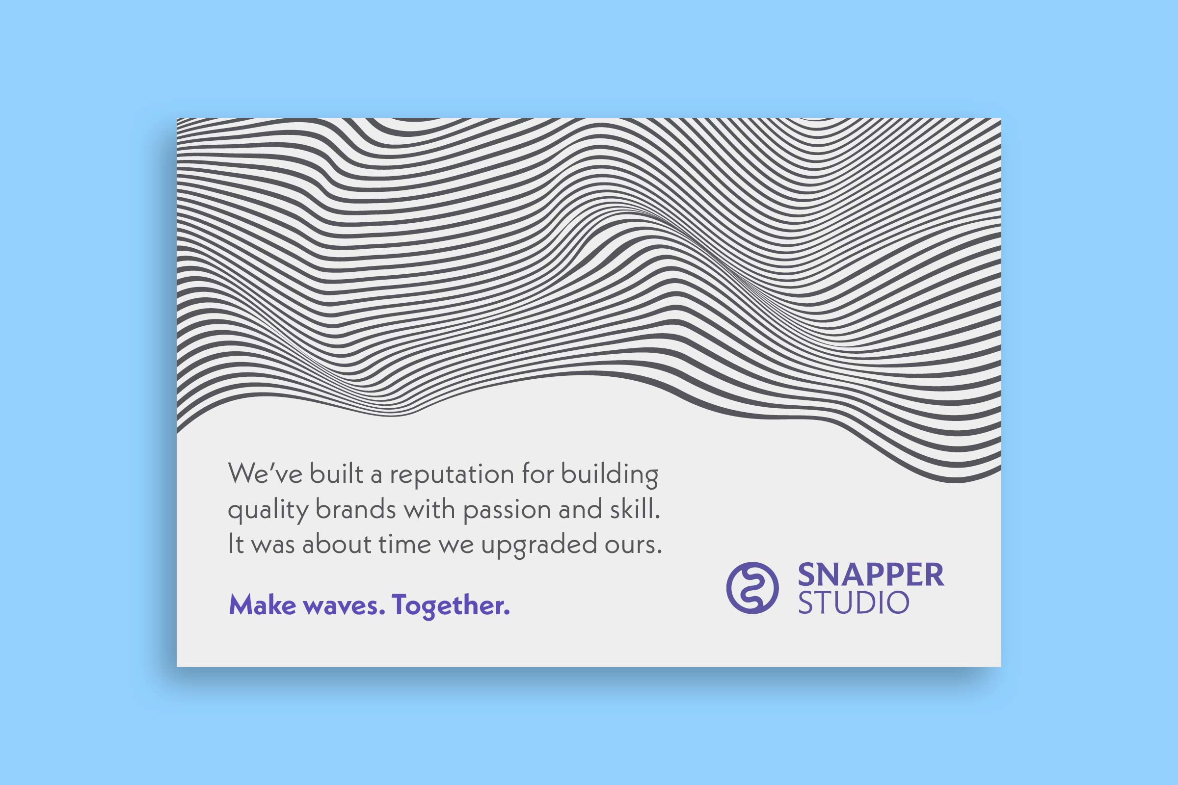 A design of an introduction postcard with wavy lines that reads lets make waves