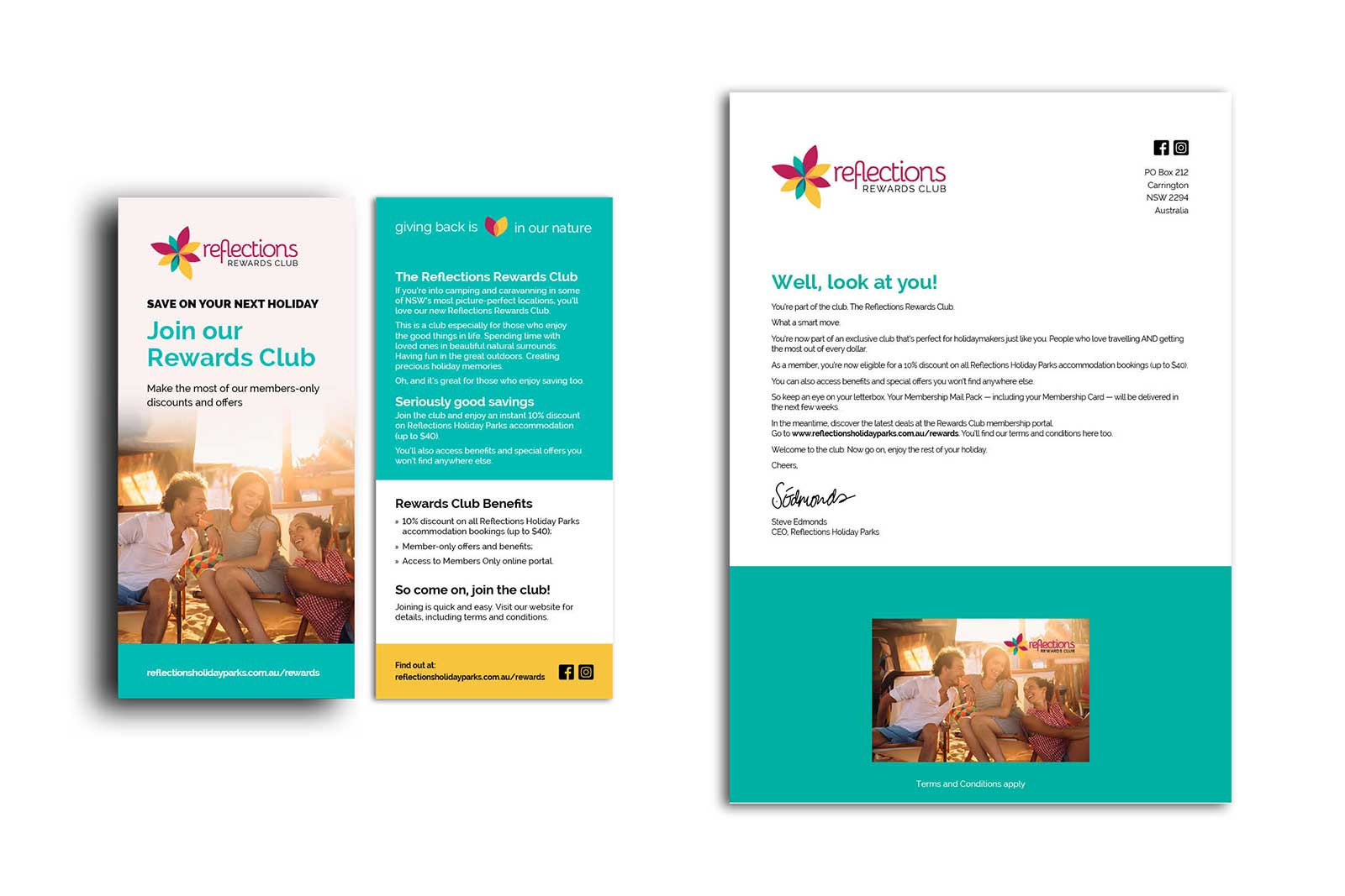 The Reflections Rewards Club brand used on marketing material (a flyer and a letter) to promote the launch.