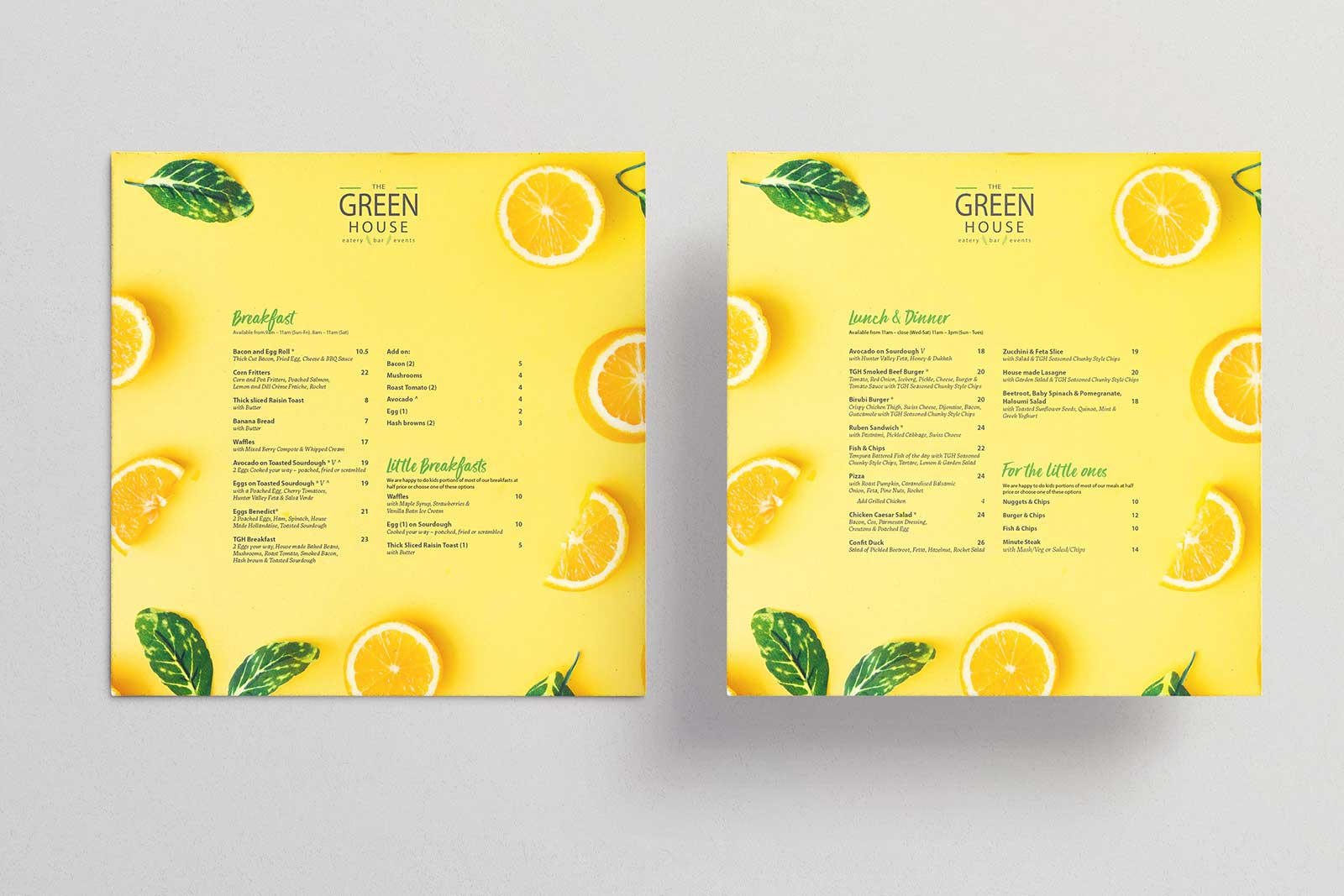 Branded menu design for The Greenhouse Eatery in Medowie, Port Stephens. Citrus fruit cut up on a yellow background with space for all the text.