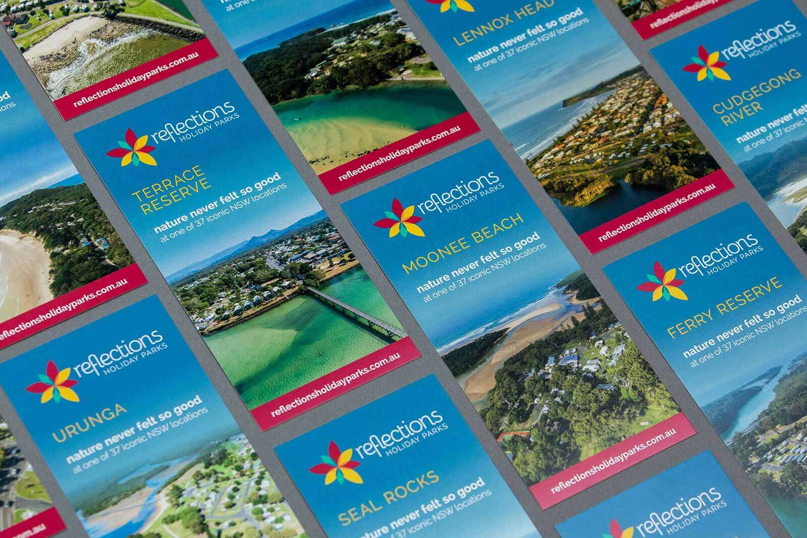 A layout of 37 DL flyers to promote the different Reflections Holiday Parks