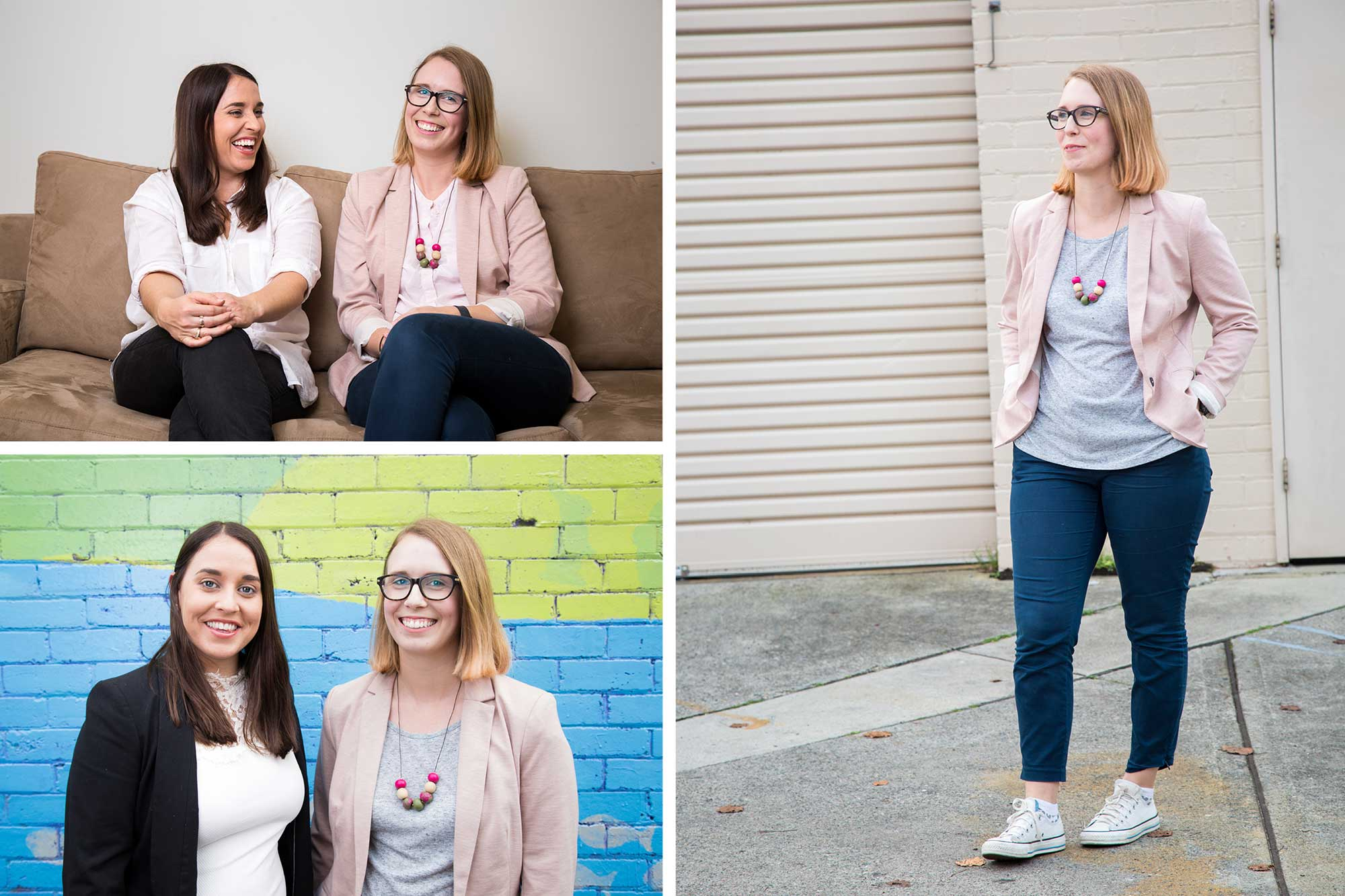 a set of three photographs for a Newcastle marketing and copywriting business.  The top left image they women are laughing on a sofa. The bottom left image they are stood again a brightly painted wall. The right image a women is photographed full length looking away from the camera.