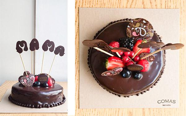 Bizcocho sacher de cacao relleno de mermelada de frambuesa con cobertura de chocolate negro. Para 4/5 personas (600gr.)