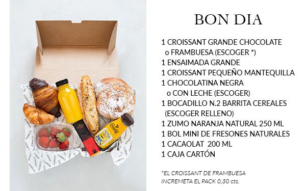 Pack desayuno con una selección exquisita de nuestros productos. Incluye: 1 croissant chocolate grande o 1 croissant de mermelada de frambuesas grande ( a escoger uno de los dos), 1 ensaimada grande, 1 croissant pequeño mantequilla, 1 chocolatina negra o chocolate con leche Valrhona (a escoger), 1 bocadillo N.2 de barrita de cereales (a escoger relleno), 1 zumo de naranja natural 250ml, 1 bol mini de fresones, 1 cacaolat 250 ml, 1 caja de cartón.