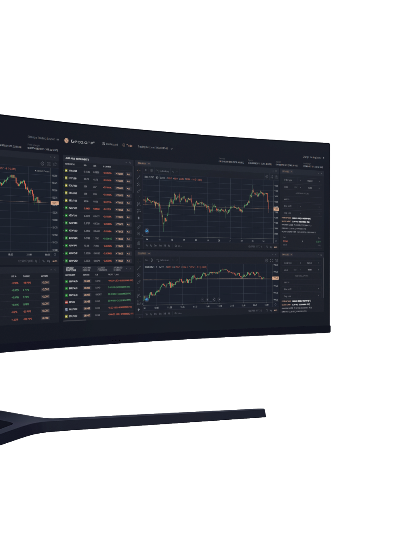 What the fully customisable Geco.one crypto margin trading set up looks like on screen