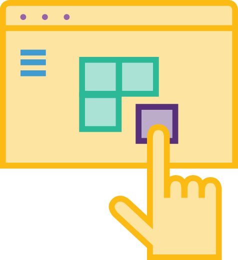 Interaction Design Icon: Screen with hand cursor