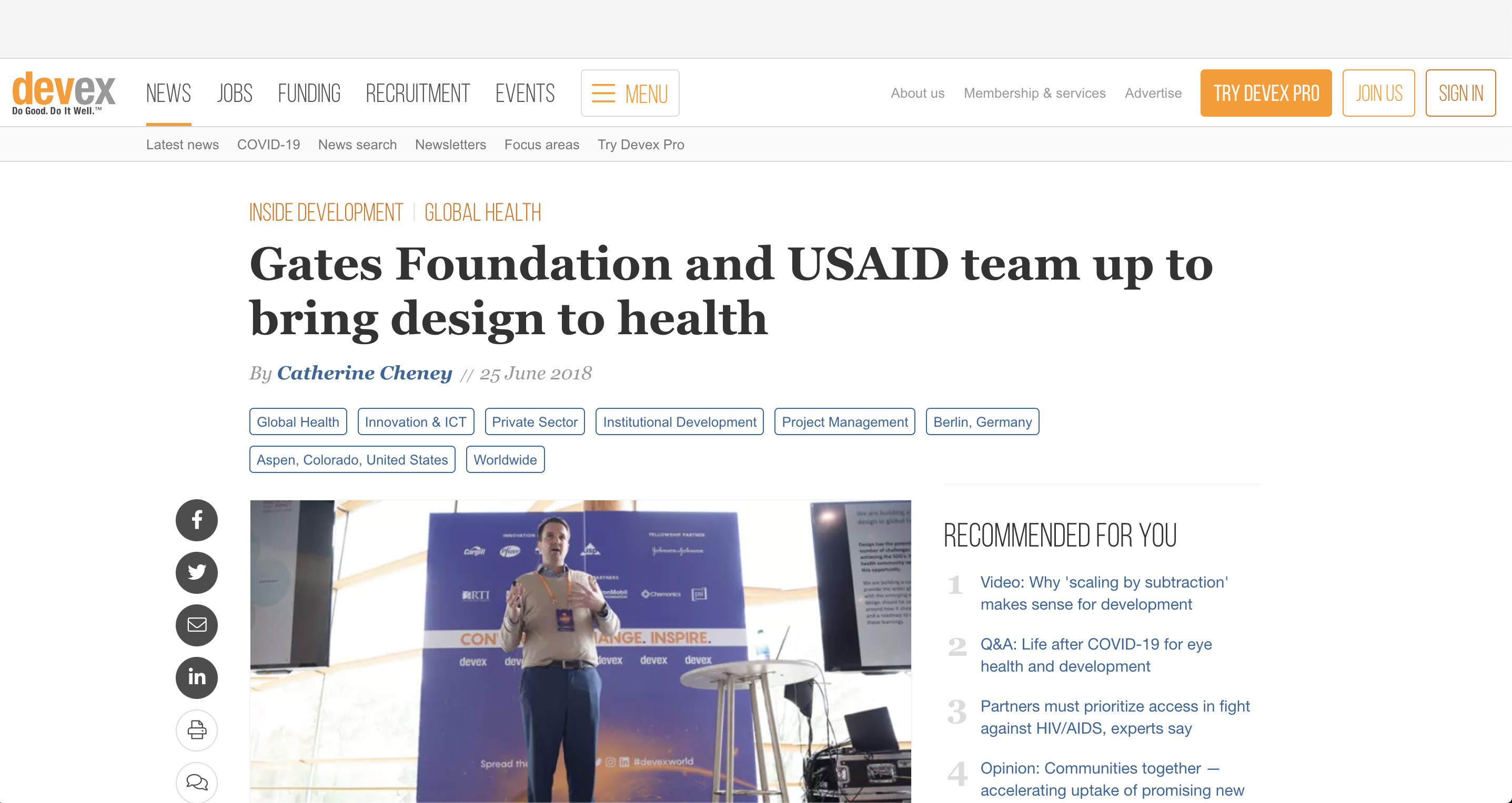 Preview of website with article entitled 'Gates Foundation and USAID team up to bring design to health'