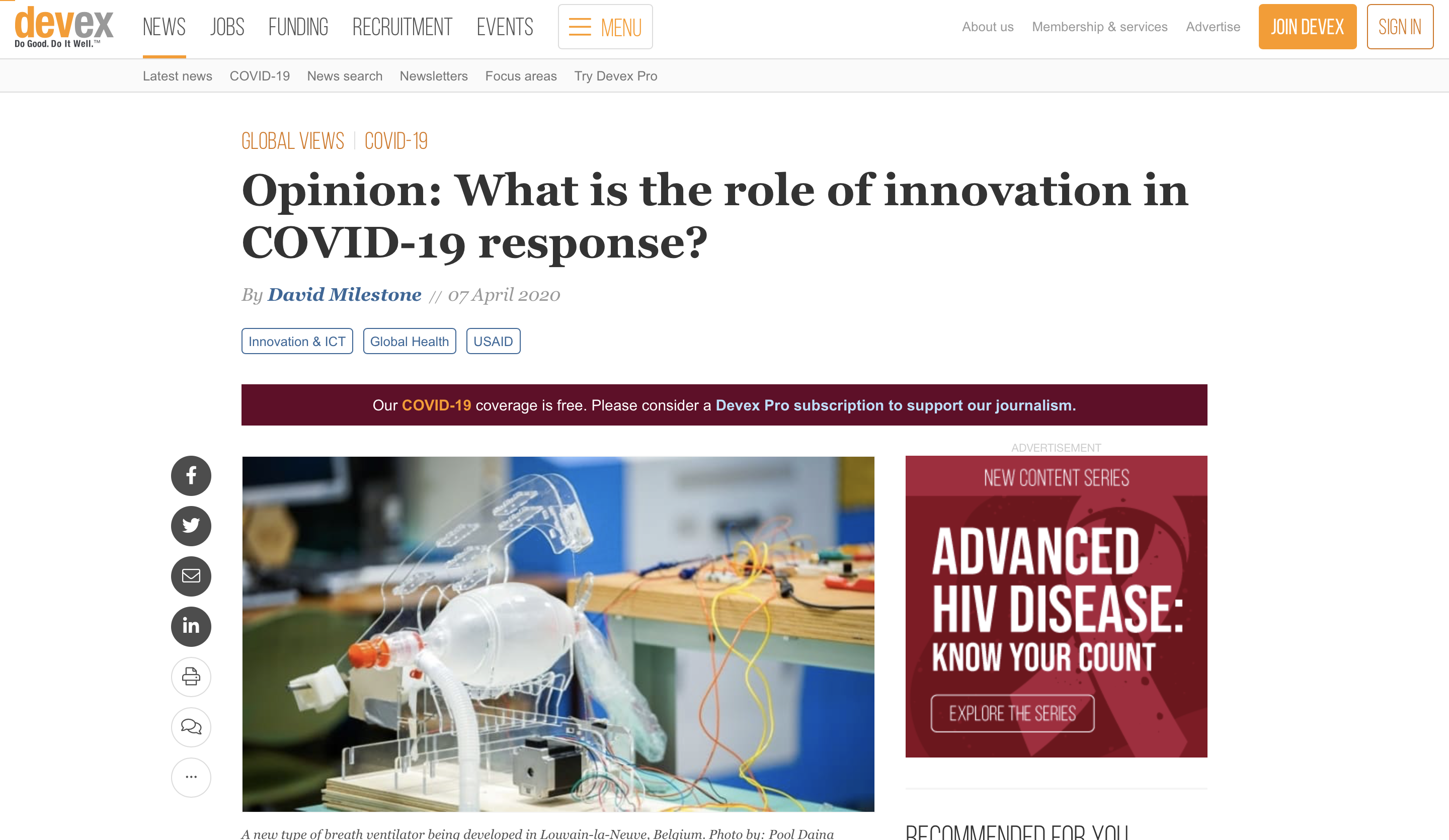 Preview of article on Devex entitled What is the role of innovation in COVID-19 response?