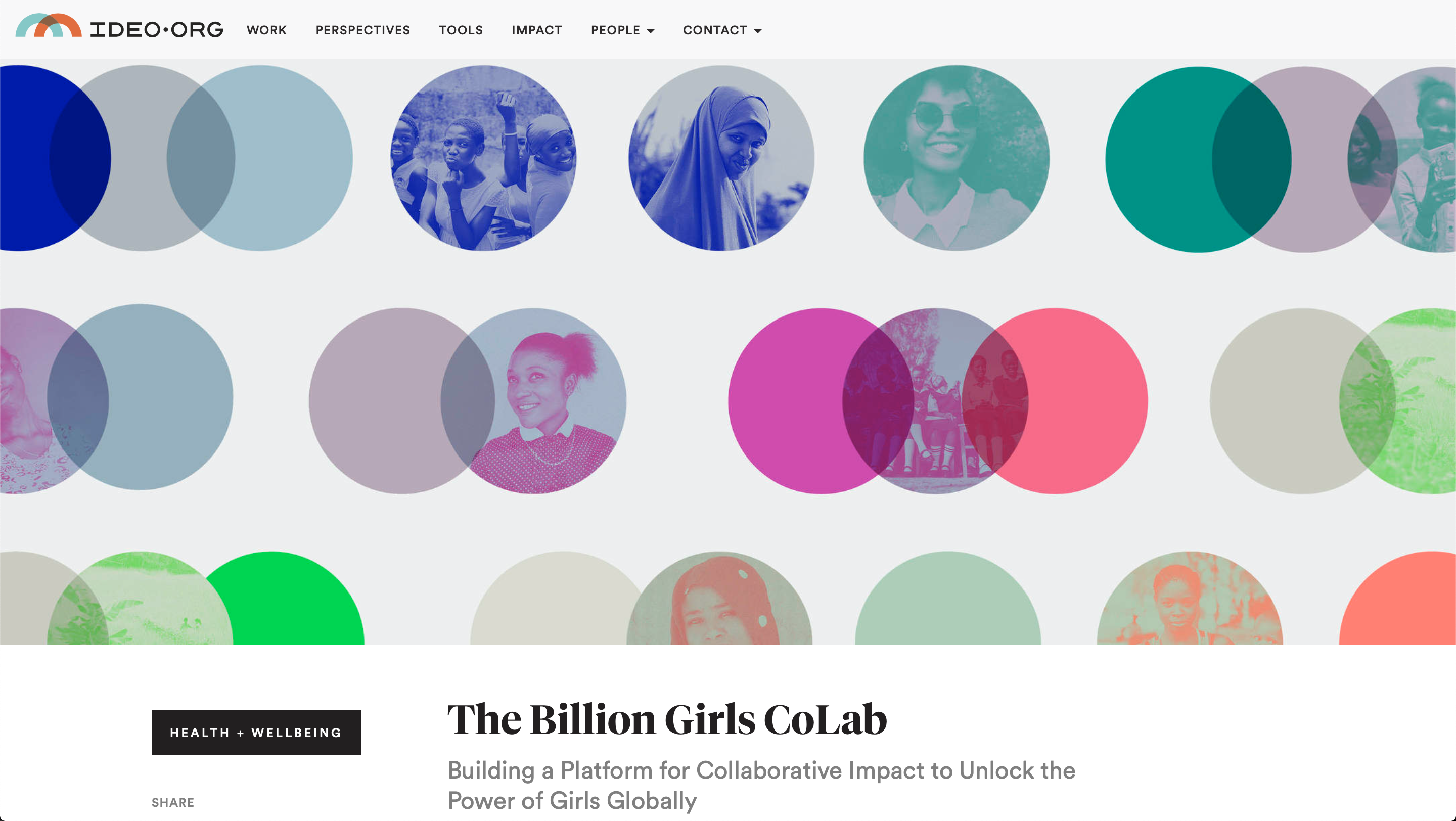 Preview of article on IDEO.org entitled The Billion Girls CoLab