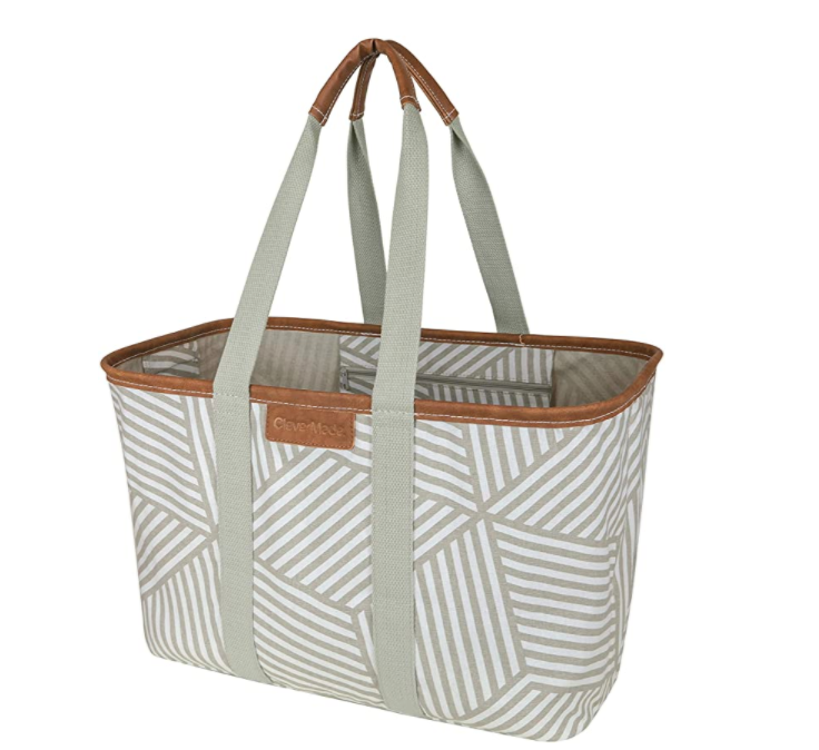 CleverMade 30L Shopping Basket in Geometric Taupe