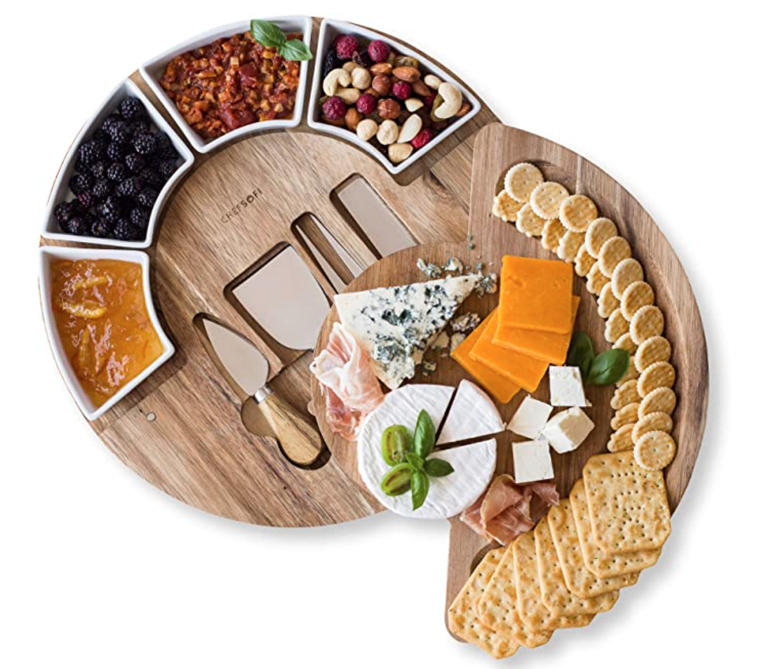 Cheese board and knife set with charcuterie