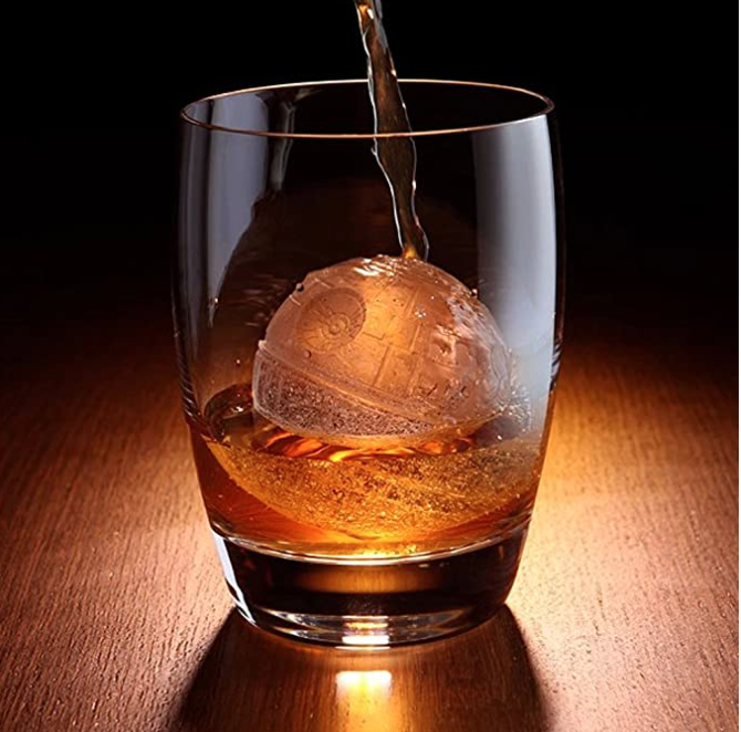 Death Star Shaped Ice Mold in Whiskey Glass