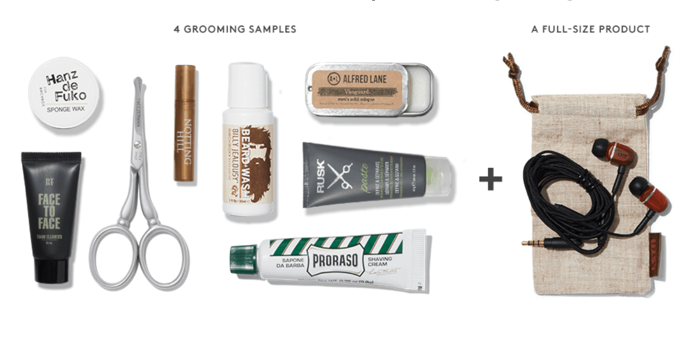 Samples of a Birchbox Grooming Delivery