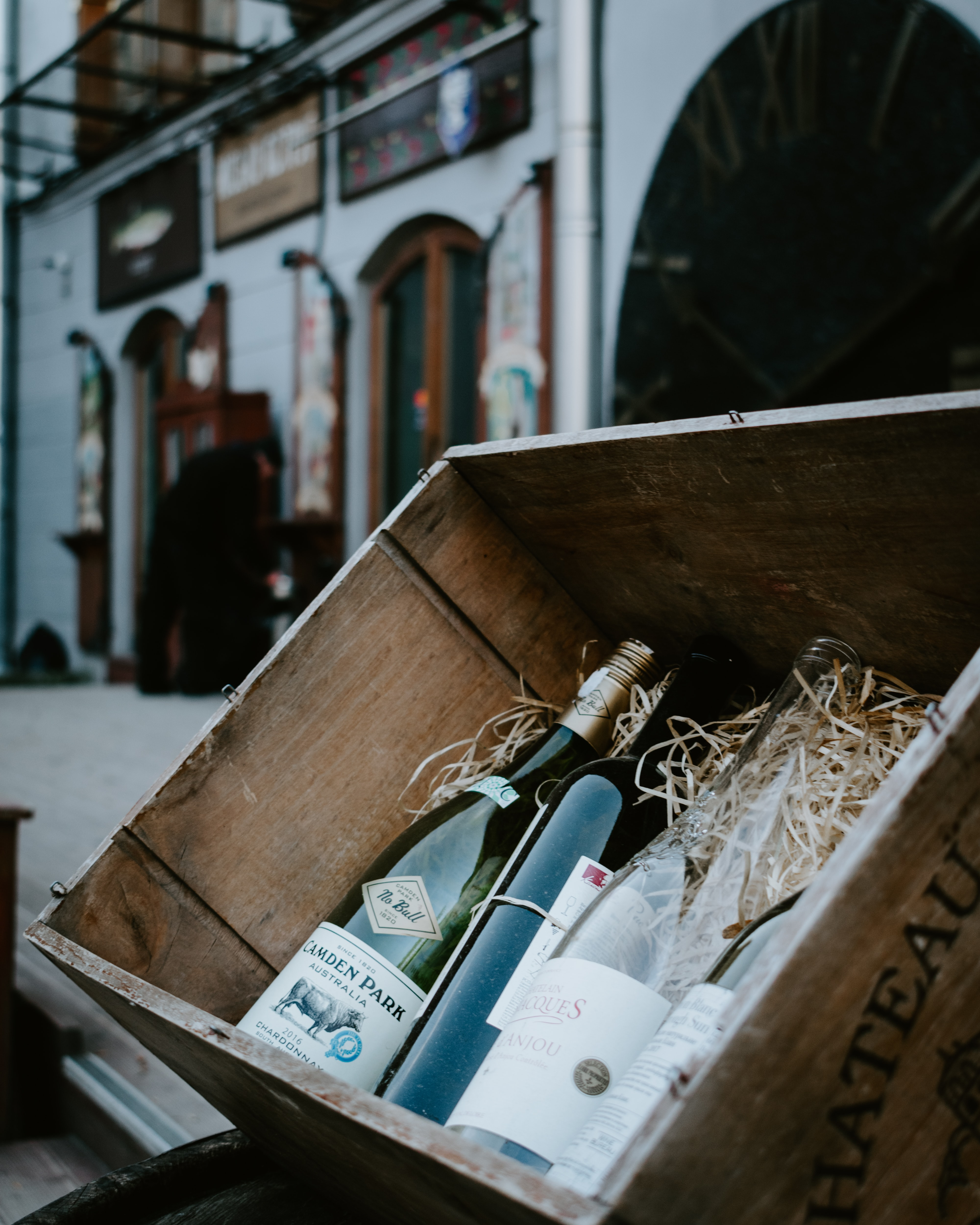 4 Bottles of Wine in a Wine Crate