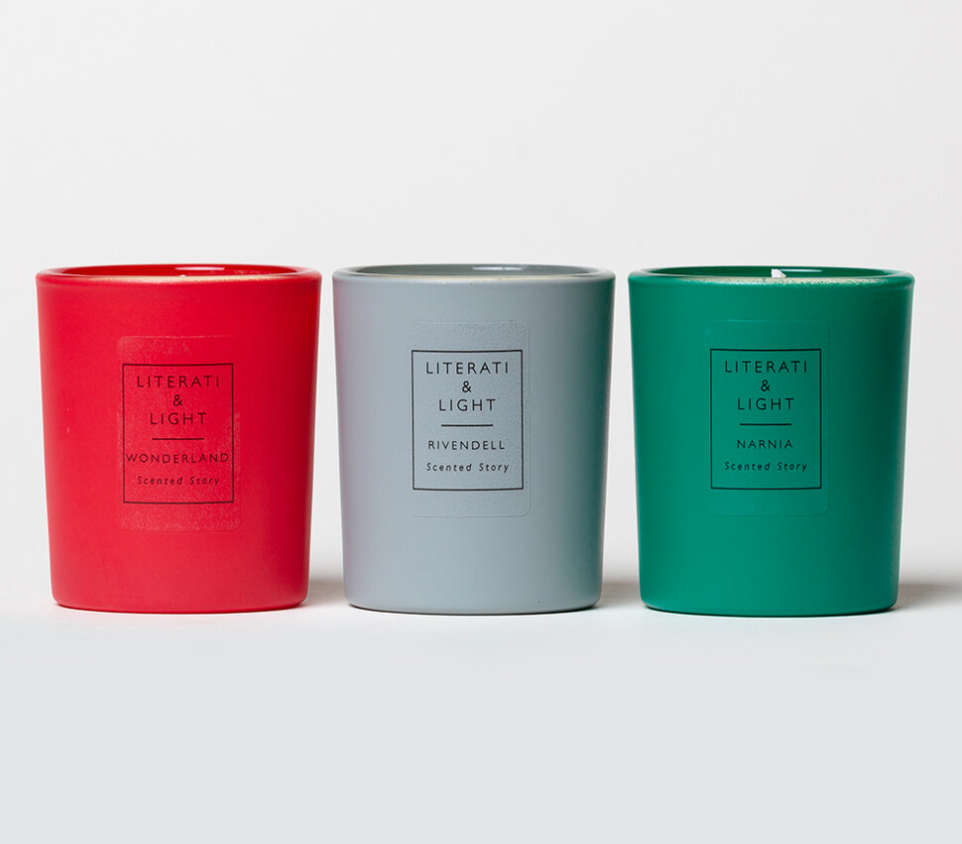 Literati & Light Magical Lands Candle Set with Wonderland, Narnia, and Rivendell