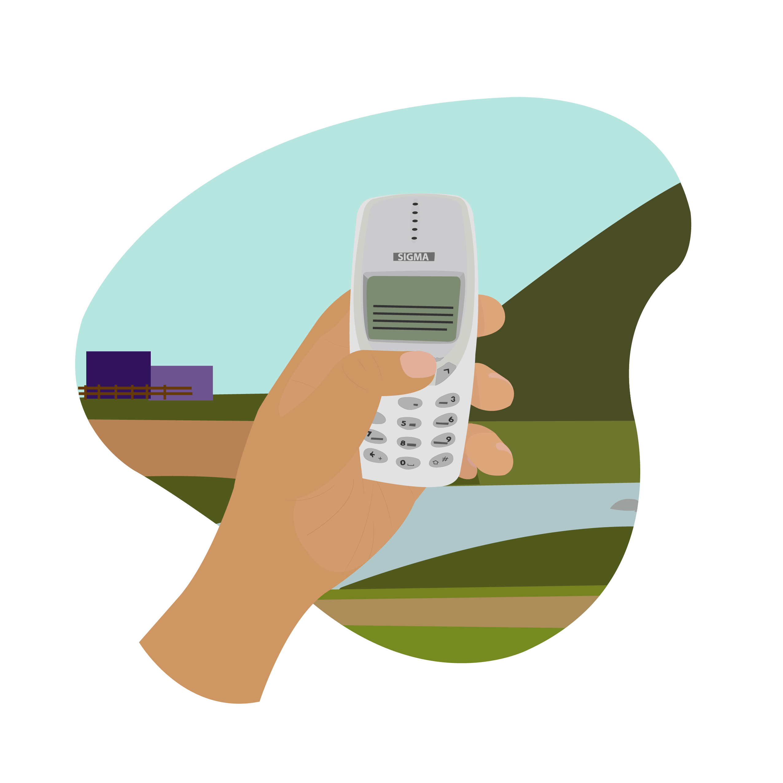 Illustration of a person holding an old phone in a rural setting