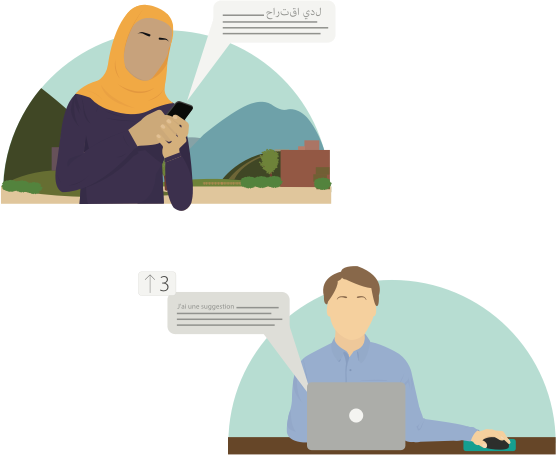 Illustration of a woman in a hijab sending a message in Arabic, and a man behind a laptop reading the message in French
