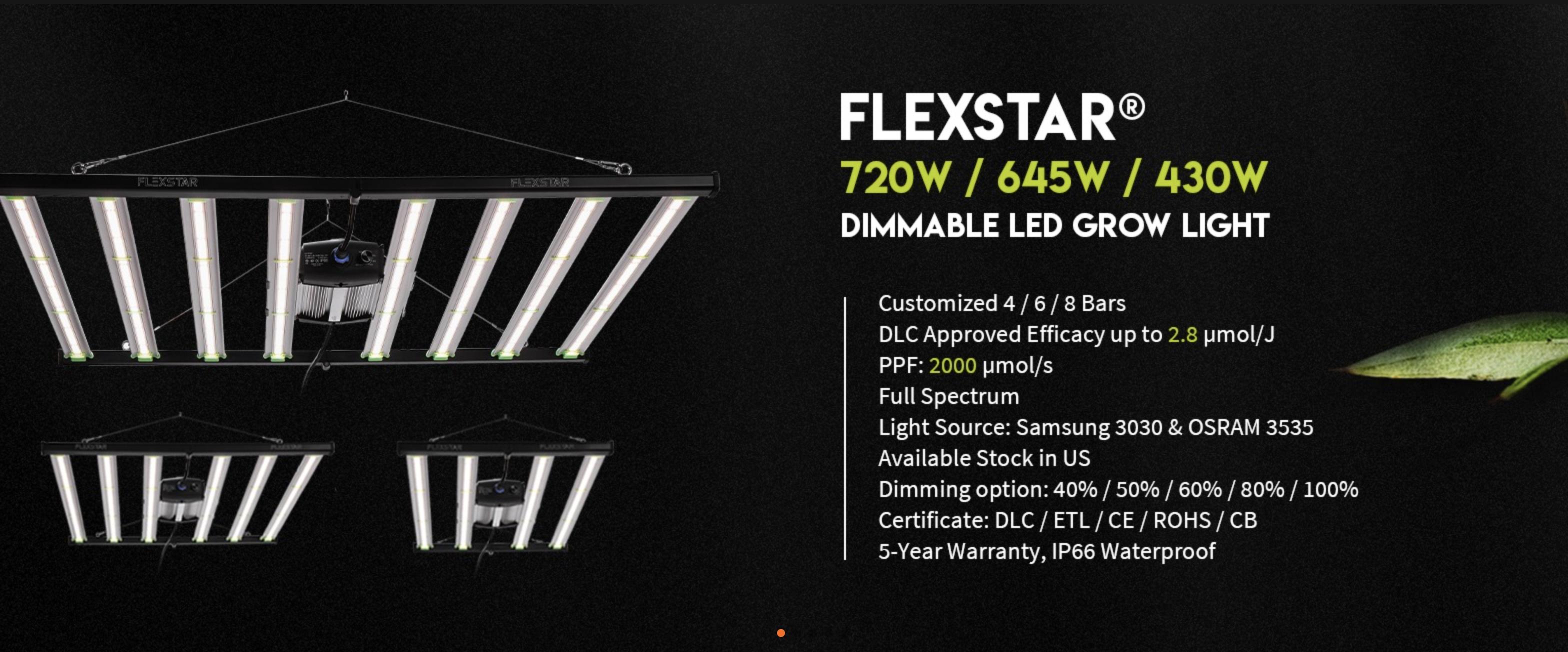 Manufacturer—Flexstar 645W Dimmable LED Grow Light