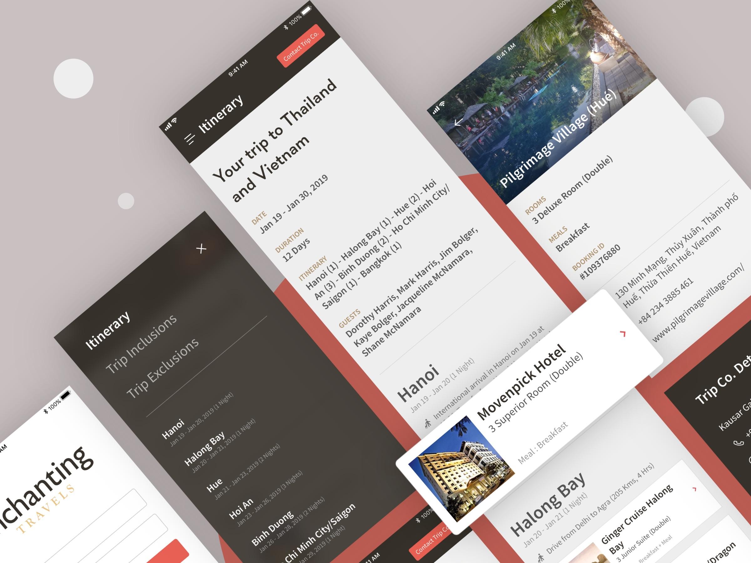Enchanting travels Design sprint High fidelity mobile screen