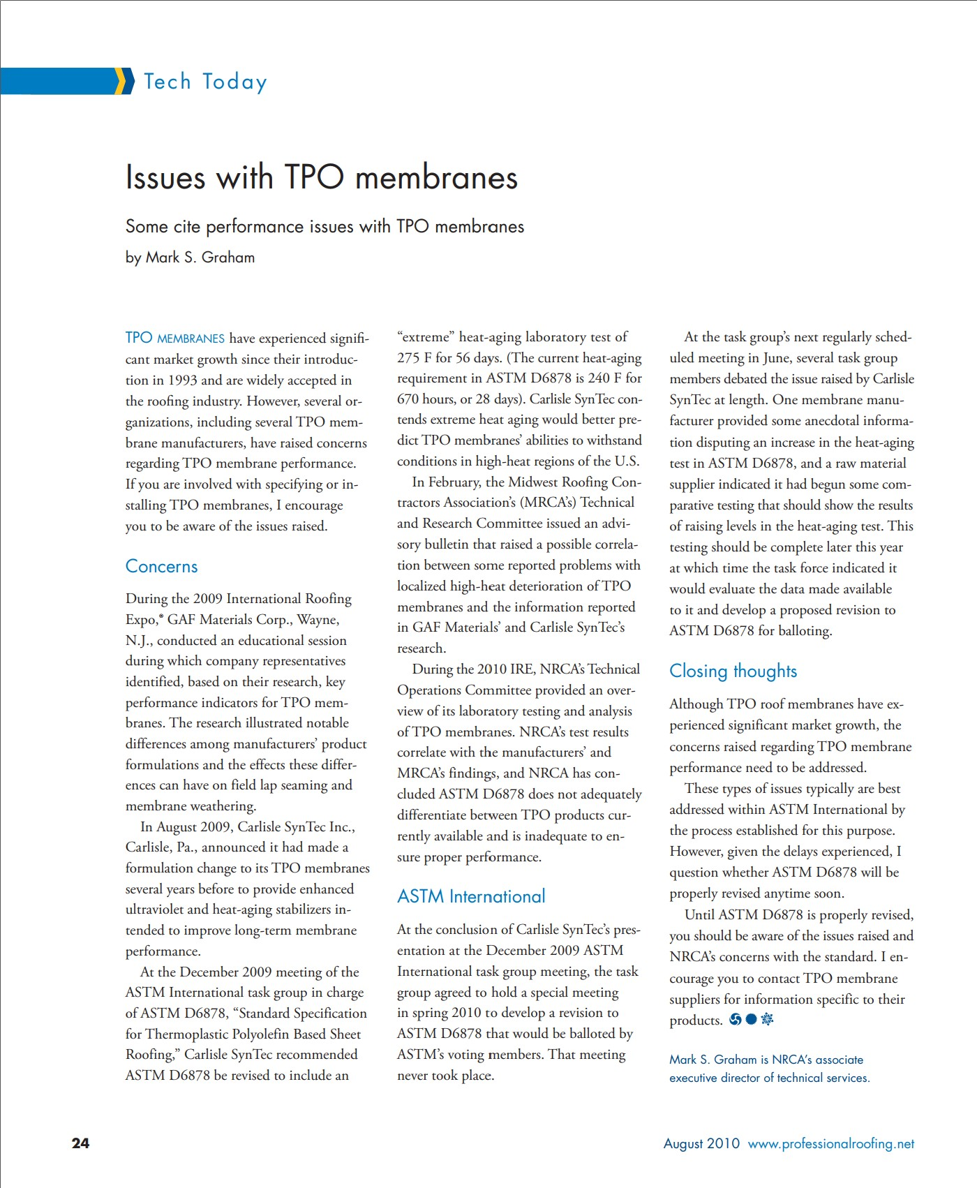 NRCA issues with TPO membrane