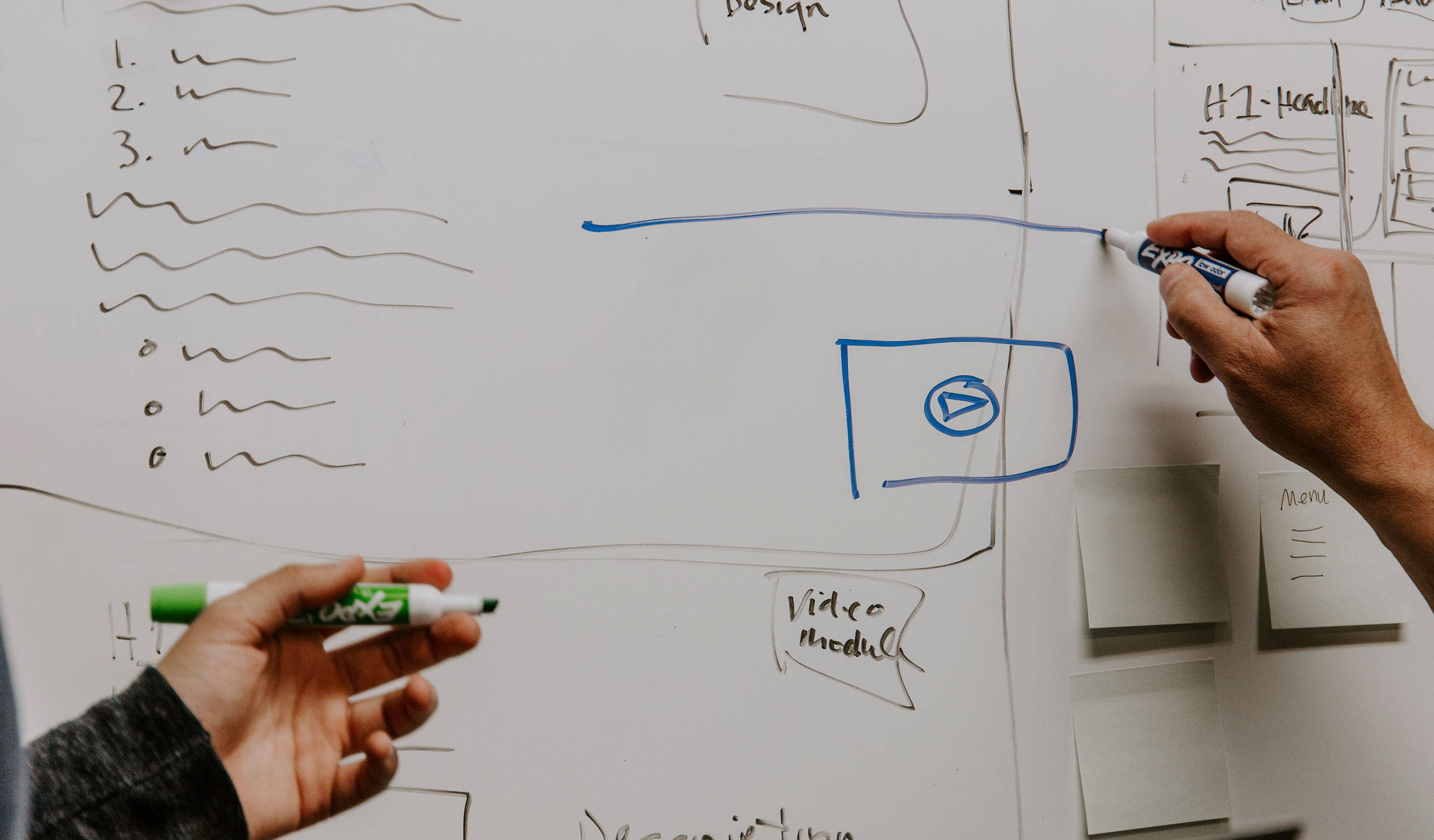 Photo of a design sketch on a whiteboard