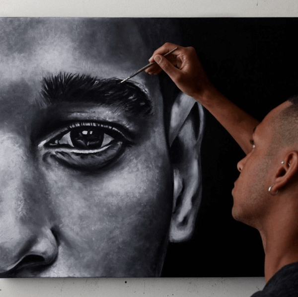 Learn to paint a human eye with black and white paint after a soothing meditation!