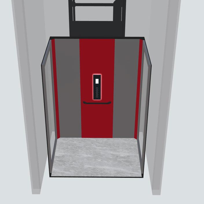 doorsneden vooraanzicht huislift cabine