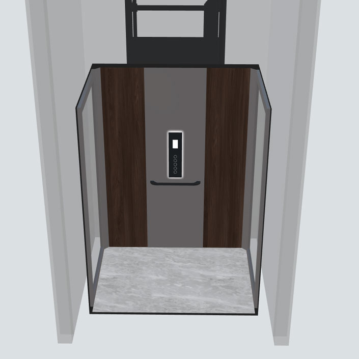 doorsnee vooraanzicht huislift cabine