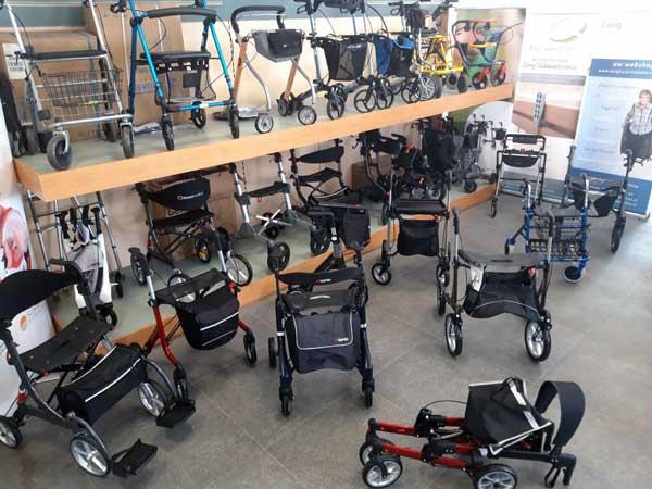 rollator collectie in onze showroom