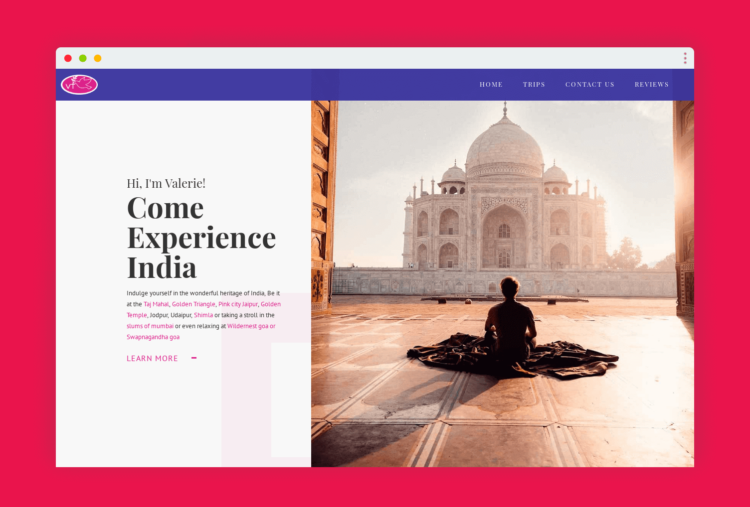 a goan website design for Valerie Travels