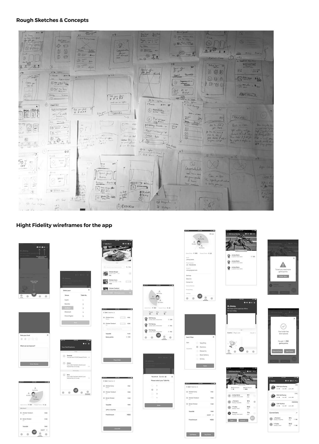 Concepts and sketches for the derby mumbai app desig