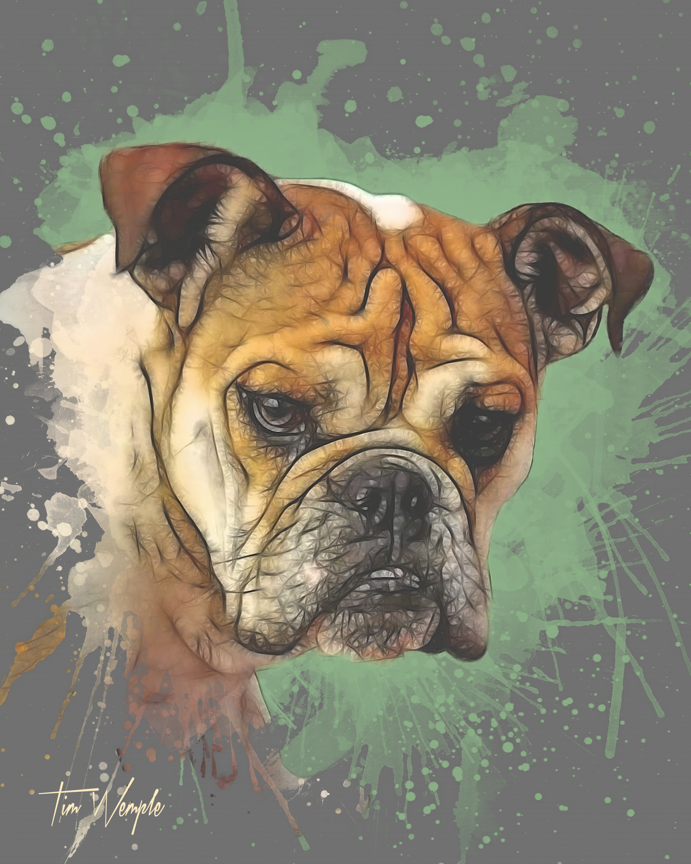 Pet Portrait Digital Watercolor Style