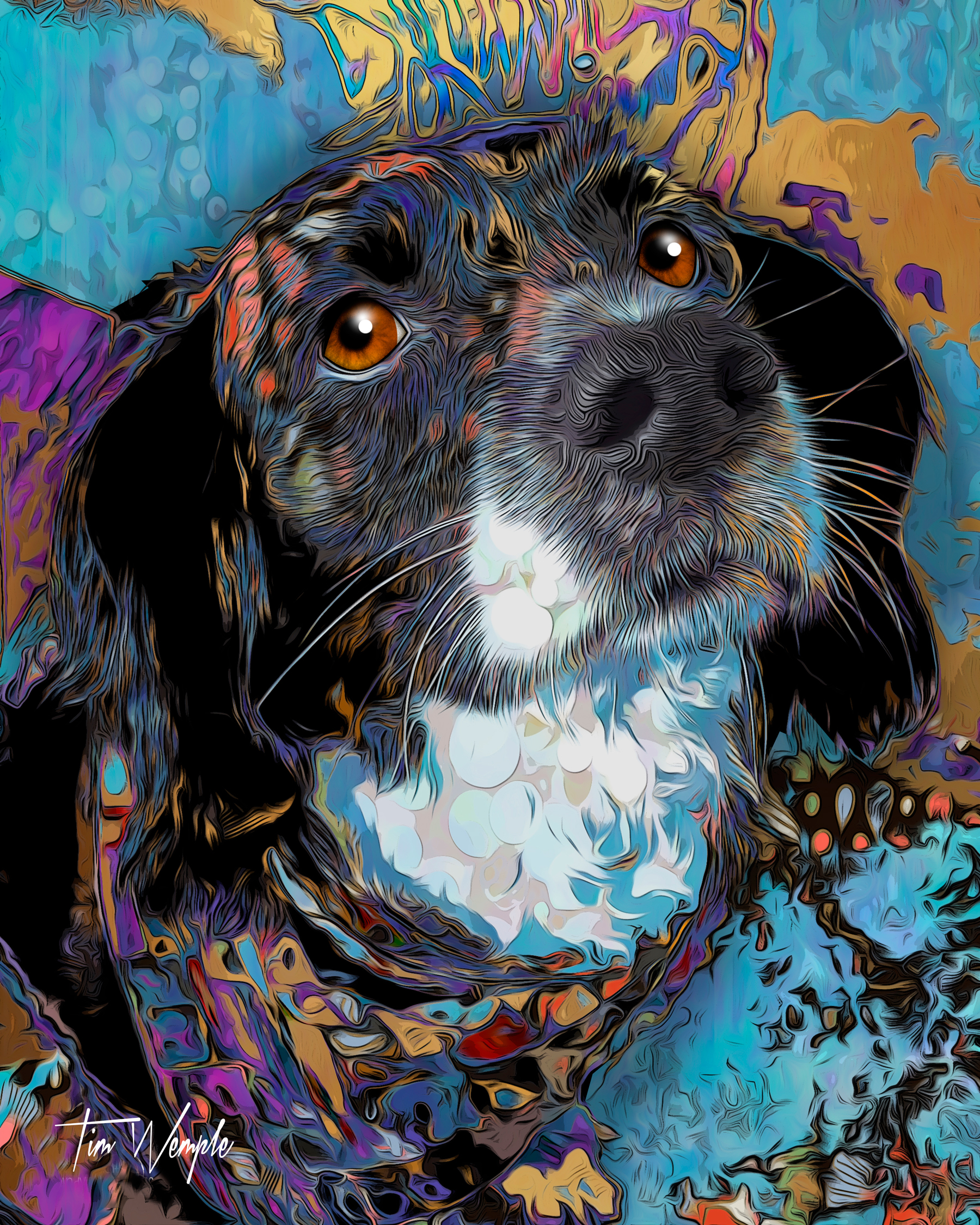 Pet Portrait Pop Art Illustration Style