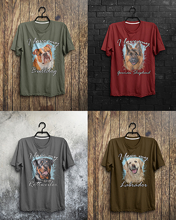 Andy's Paw Prints Pet Portrait T-Shirts