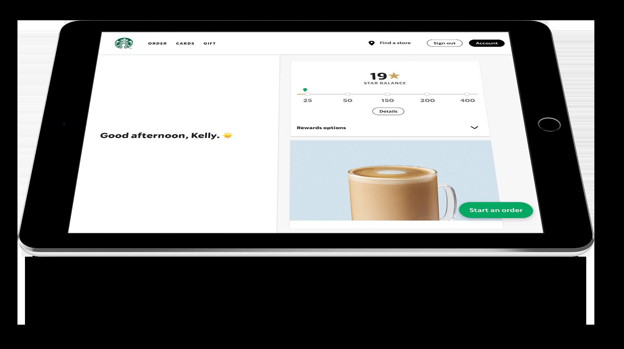 Image of Starbucks app on an iPad.