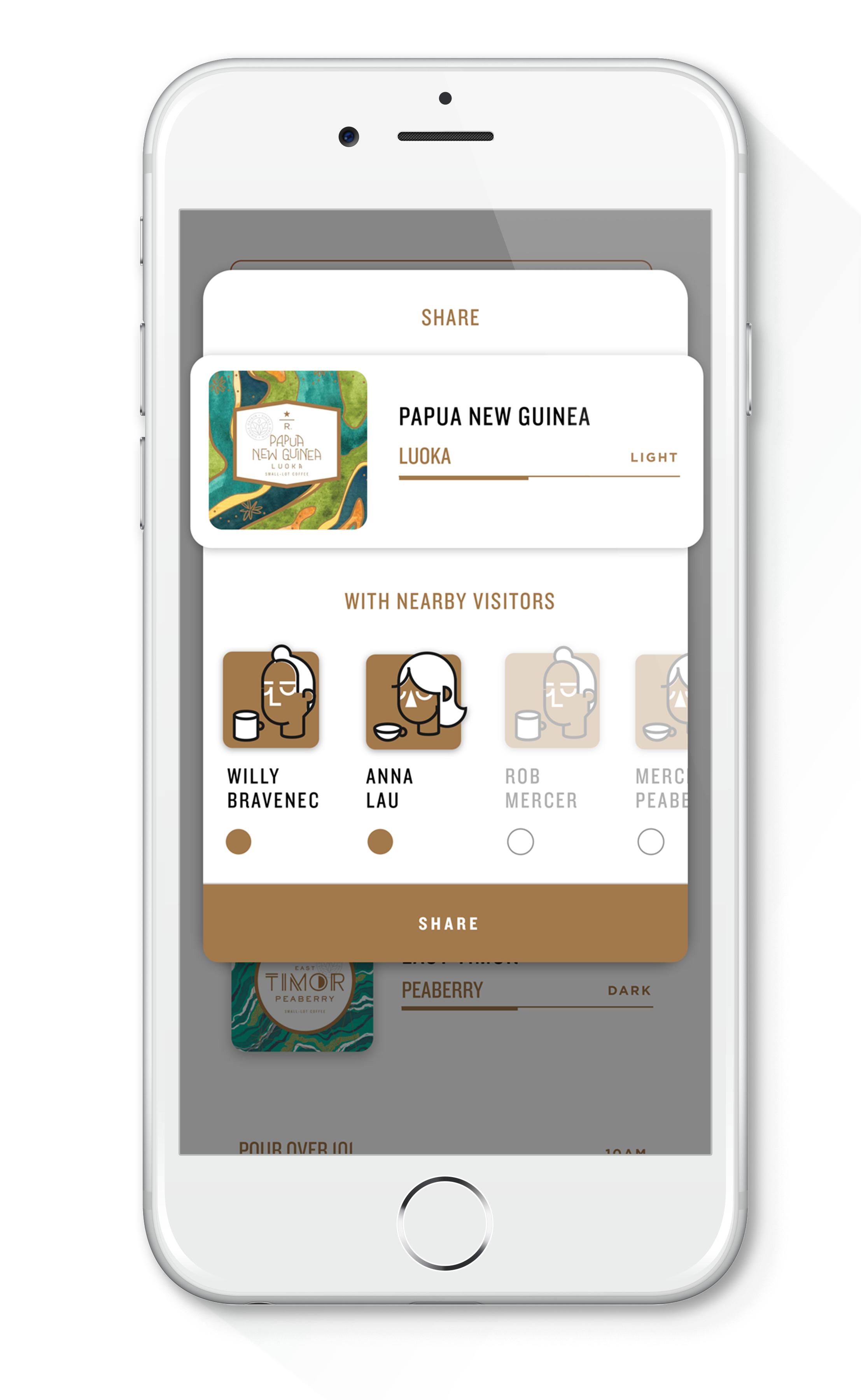 Image of Starbucks Roastery mobile app screen.