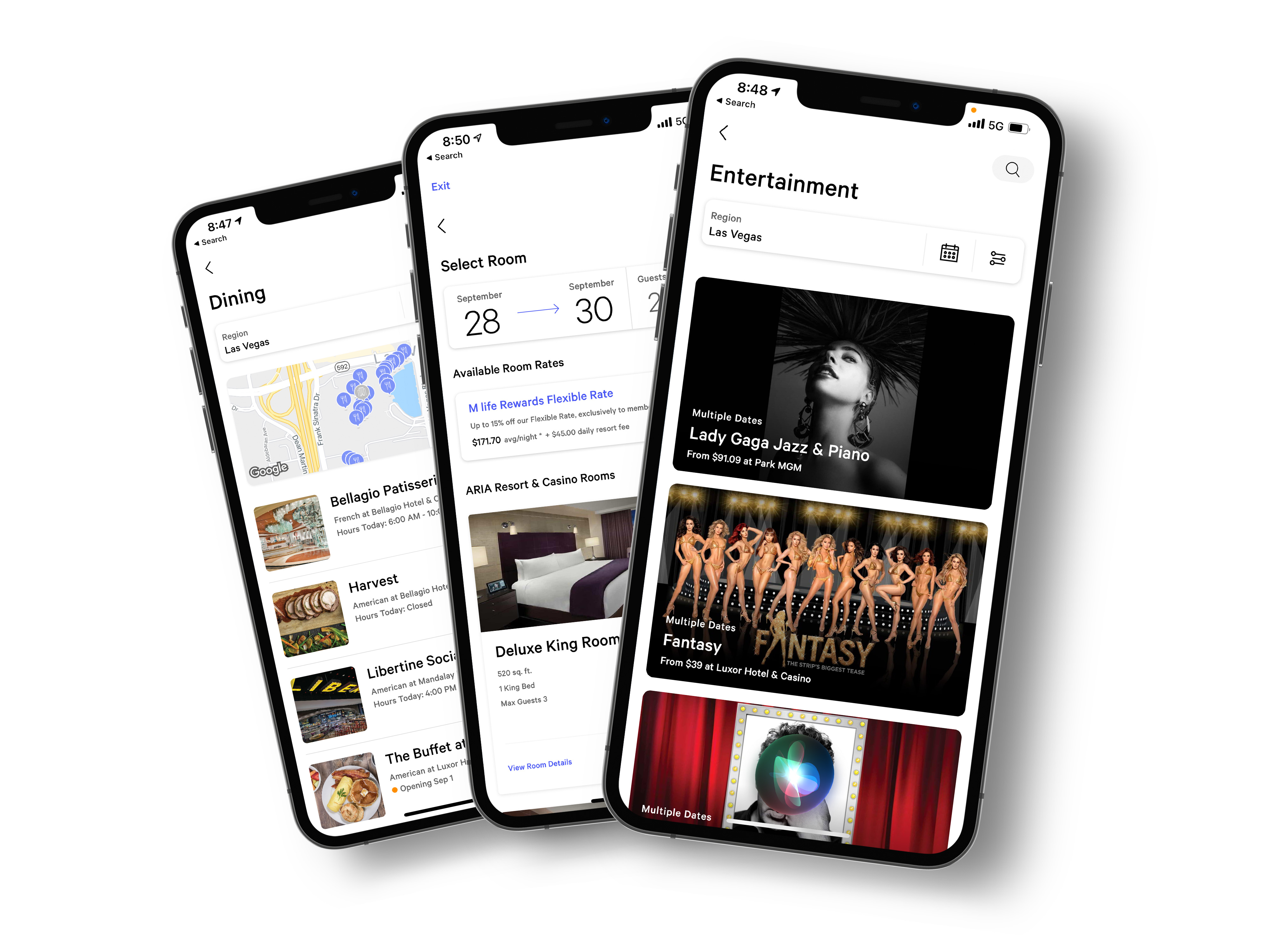 Image of various MGM mobile app screens