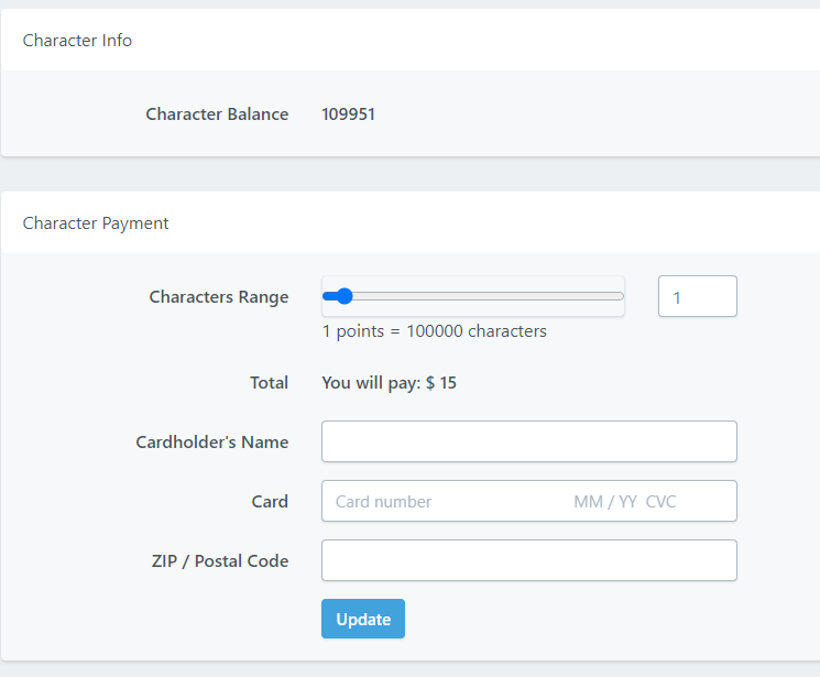 A character payment window