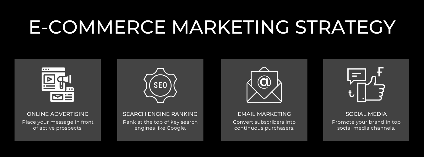 E-Commerce Marketing Strategy, Search Engine Optimization (SEO), Pay-Per-Click (PPC), Email Marketing, Social Media Marketing