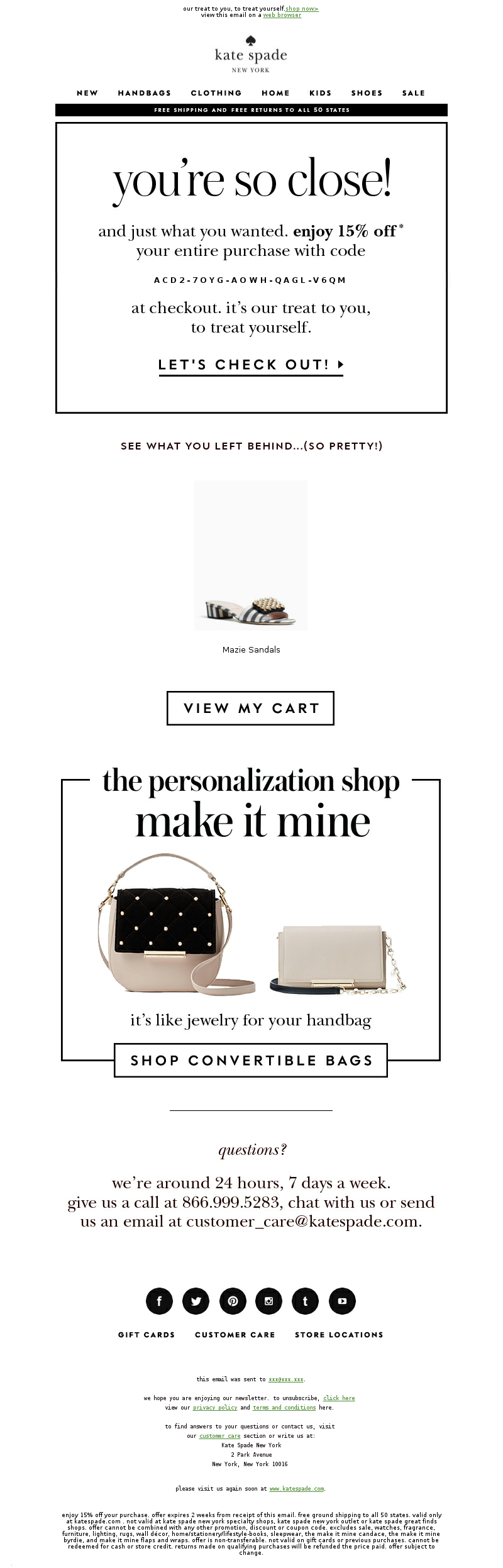 Kate Spade Abandoned Cart Email