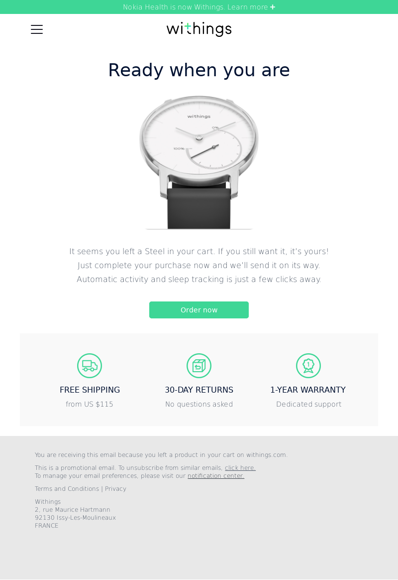 Withings Abandoned Cart Email