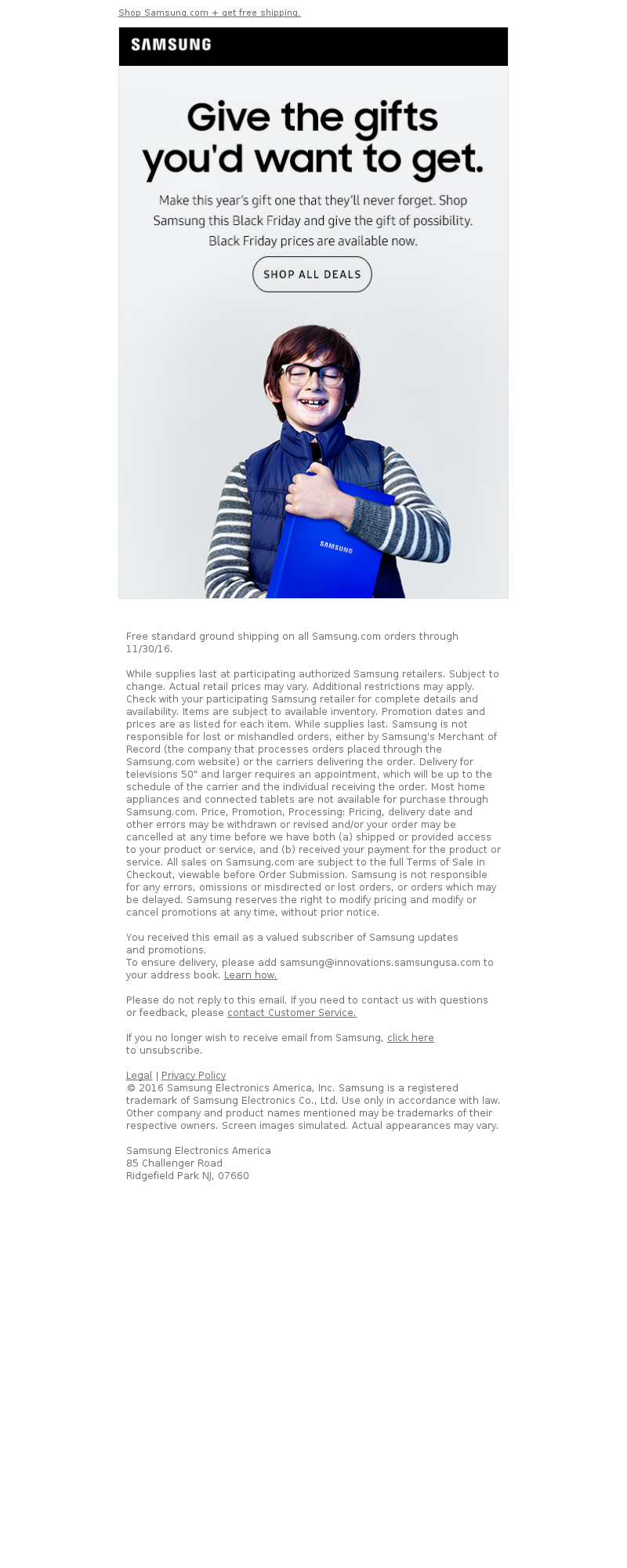 Samsung Email Marketing Examples