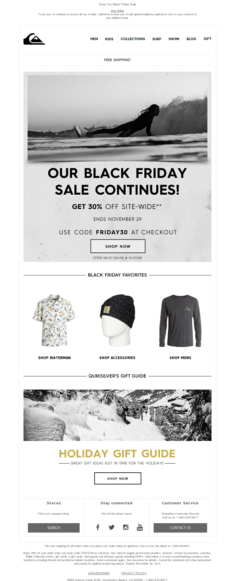 Quiksilver Email Marketing Examples