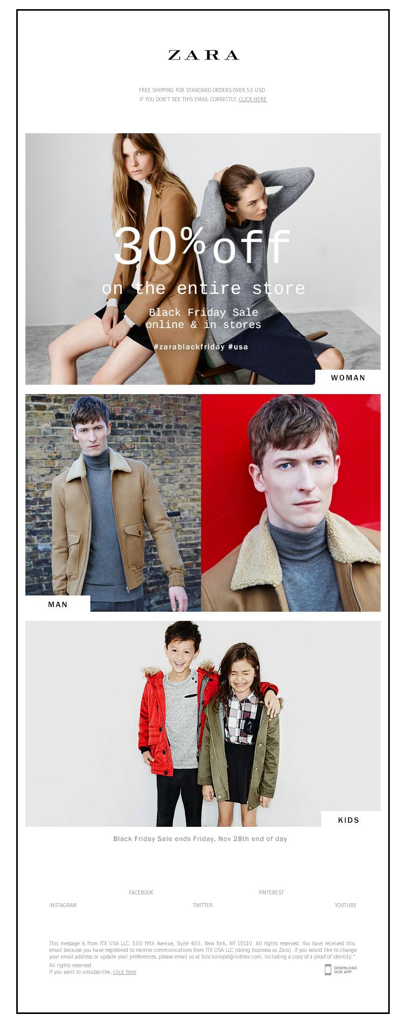 Zara Email Marketing Examples