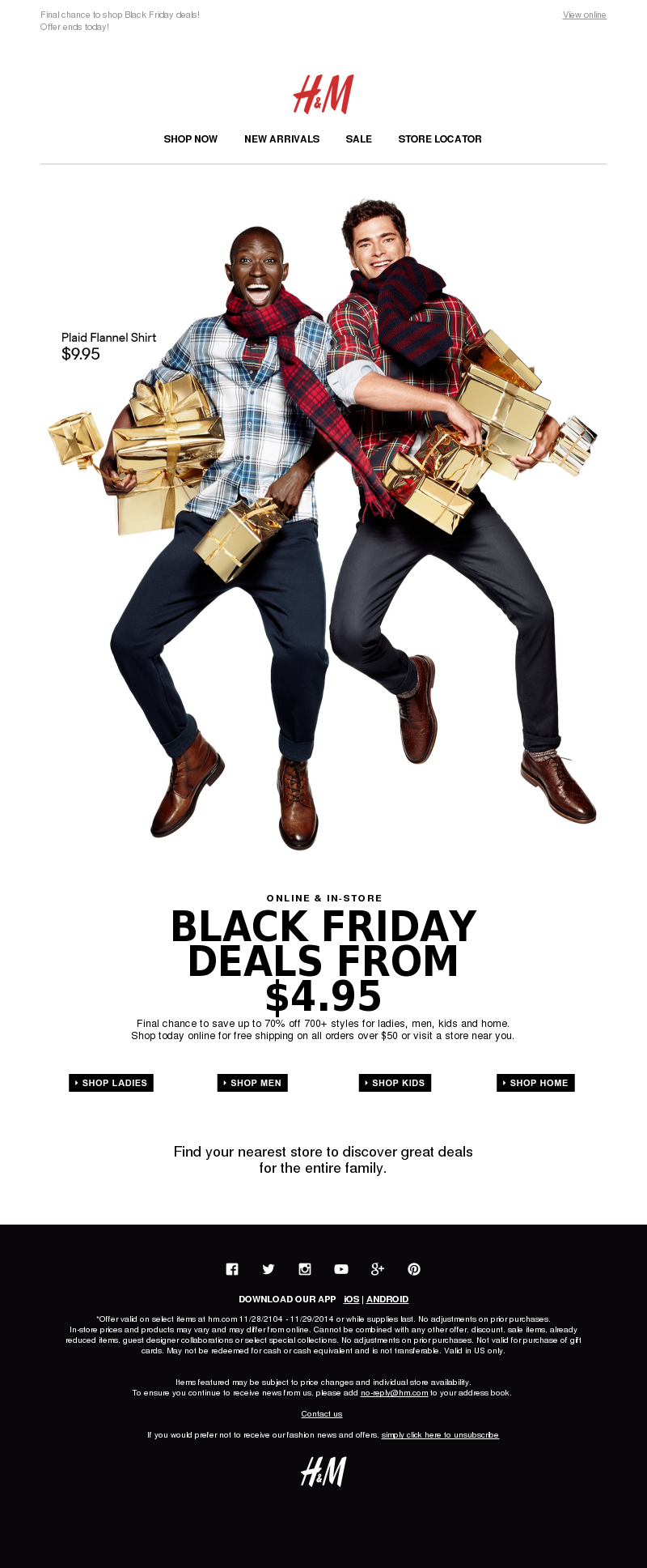 H&M Email Marketing Examples