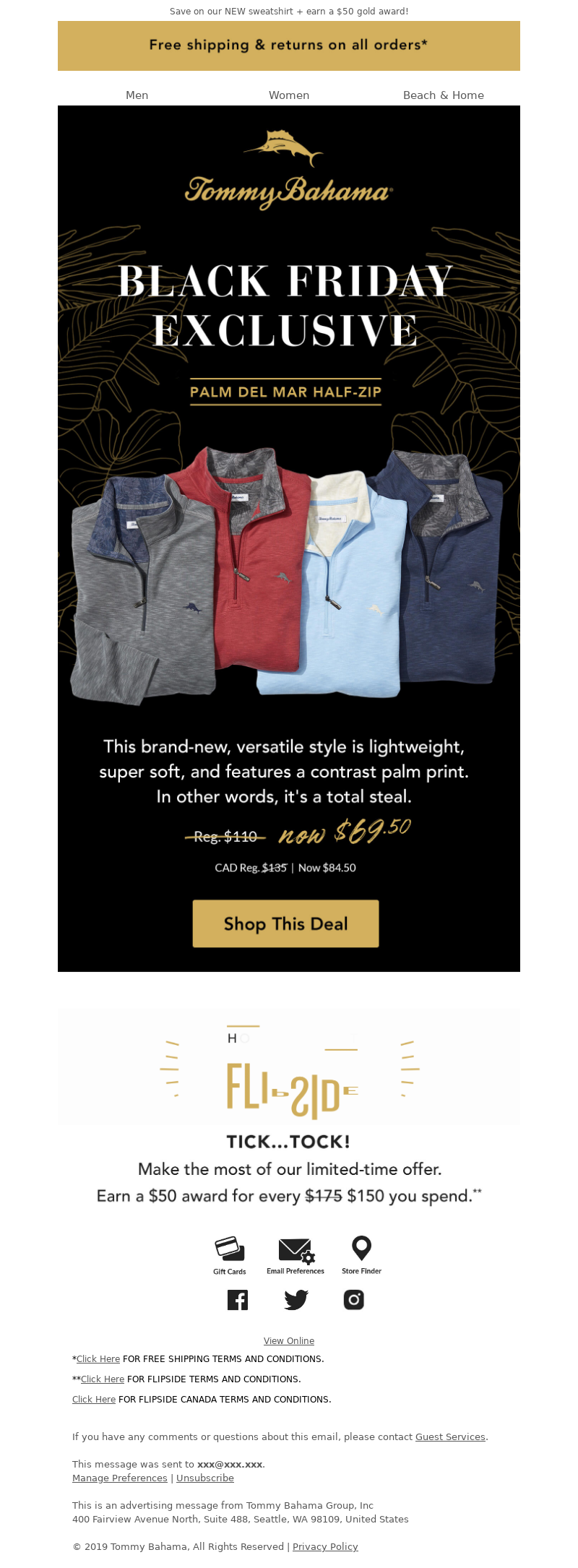 Tommy Bahama Email Marketing Examples