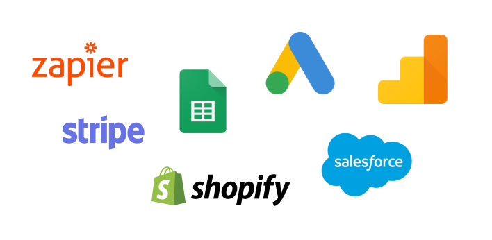 Zapier, Stripe, Google Sheets, Google Ads, Google Analytics, Shopify, SalesForce logos