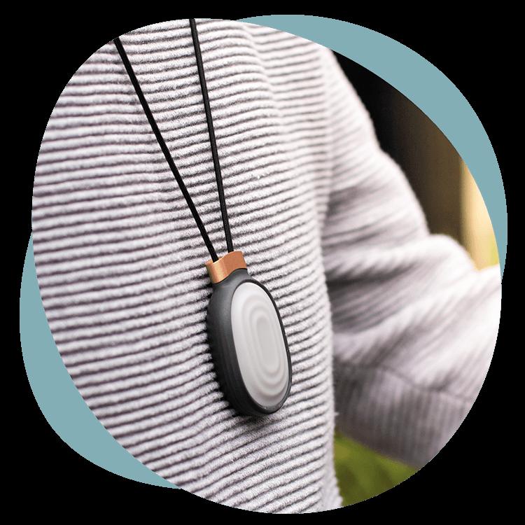Melo in pendant accessory around neck