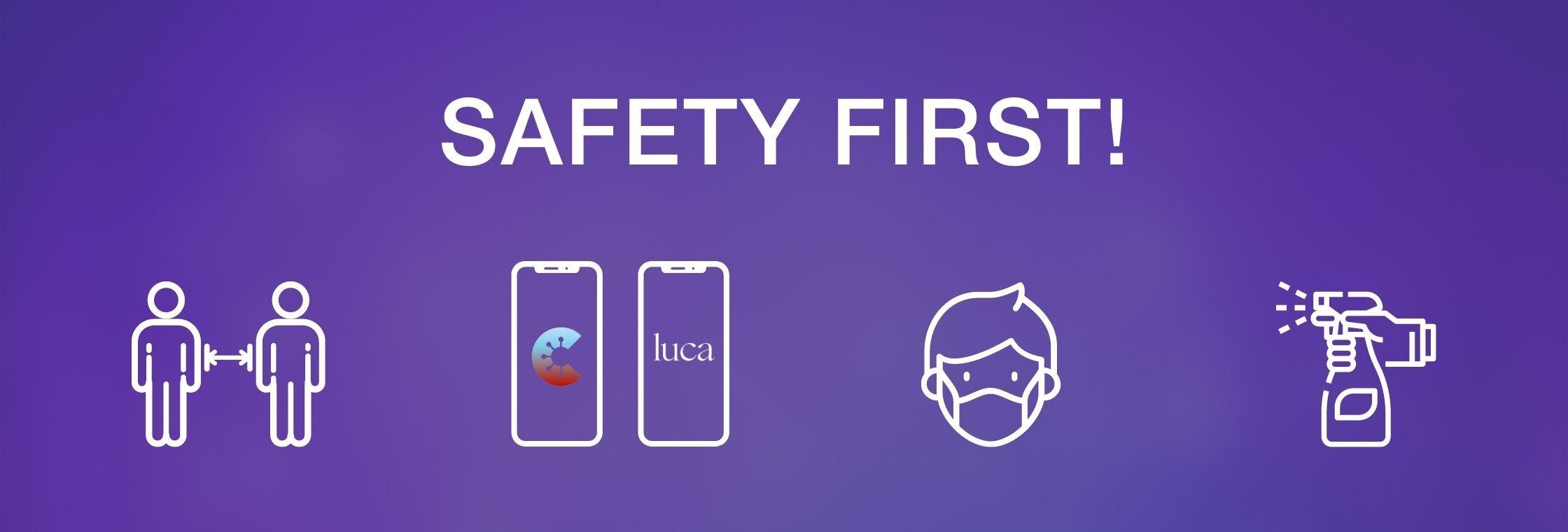 Icons Hygienekonzept Abstand CWA App LUCA APP Maske Desinfektion